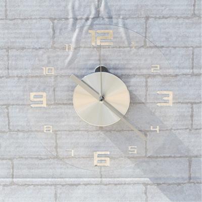 오블롱 크리스탈 무소음 인테리어 벽시계 투명 경량