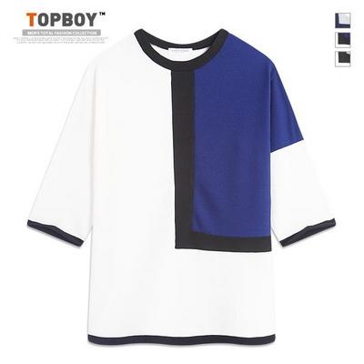와플 사각 배색 7부 티셔츠 (RM066)