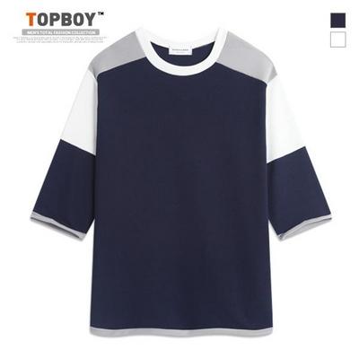 와플 배색 절개 7부 티셔츠 (RM065)