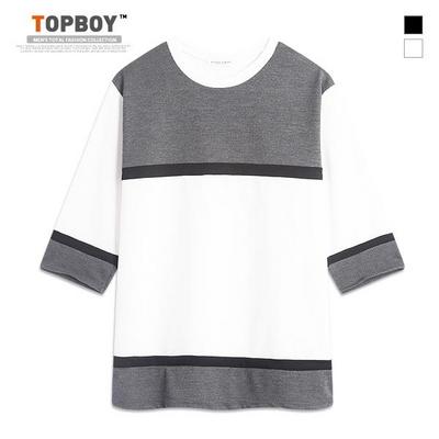와플 라인 배색 7부 티셔츠 (RM064)