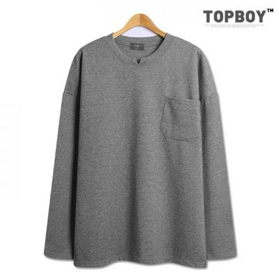 넥 포인트 포켓 오버핏 긴팔 티셔츠 (CA246)