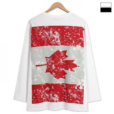 캐나다 프린팅 오버핏 언발 긴팔티 (FT015)