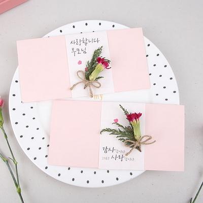핑크 카네이션 드라이플라워 용돈봉투