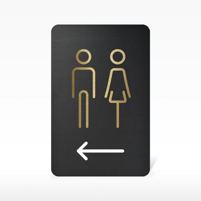 루리앤메리 블랙골드 사인보드 05 화장실 왼쪽 안내판