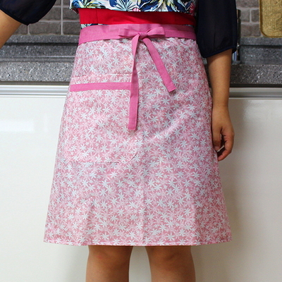 핑크 들꽃 방수 허리 앞치마