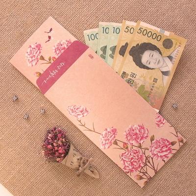 민화 돈봉투+카드 세트 D - 카네이션 화접도
