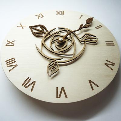 무소음 자작나무 WOOD 시계바늘 벽시계-로즈(Rose)