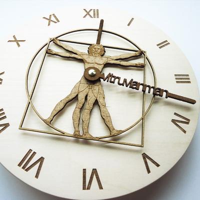무소음 자작나무 WOOD 시계바늘 벽시계-비트루비안맨