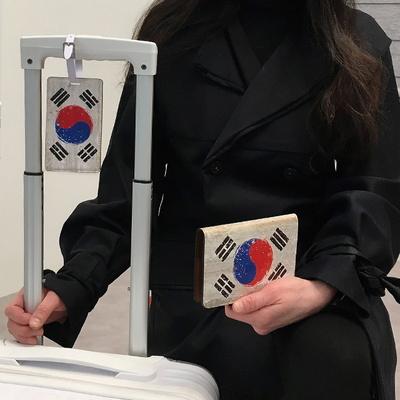 Grunge flag 태극기 수제여권케이스+캐리어택 세트