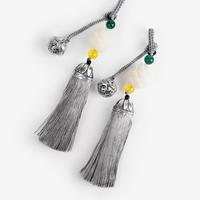 방울 장식 은회색 전통 매듭 노리개
