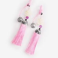 방울 장식 산호색 전통 매듭 노리개