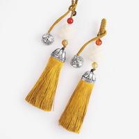 방울 장식 지황색 전통 매듭 노리개