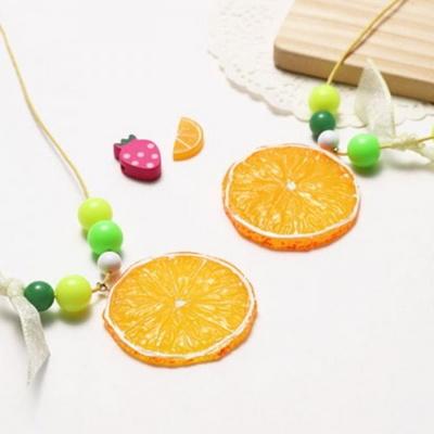 오렌지목걸이(4개)/비즈공예/만들기재료