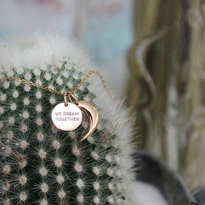 14k 핑크골드 보름달 초승달 목걸이(분리형)