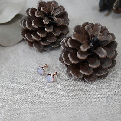 낱개판매 14k 핑크골드 블루칼세도니 라운드 사각 귀걸이