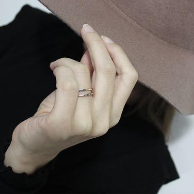 14k 핑크골드 투스텝 청다이아 꼬냑다이아 반지