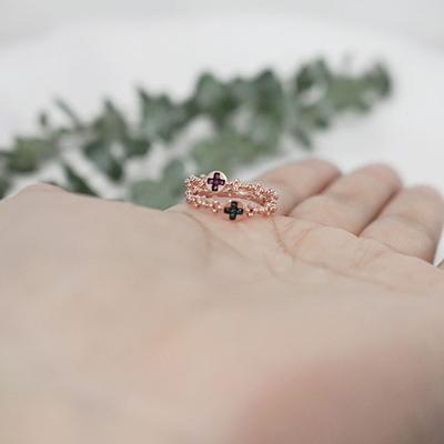 14k 핑크골드 청다이아 루비 십자가 라운드 꽃 볼 묵주반지