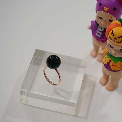 14k 핑크골드 블랙 오닉스 볼 반지