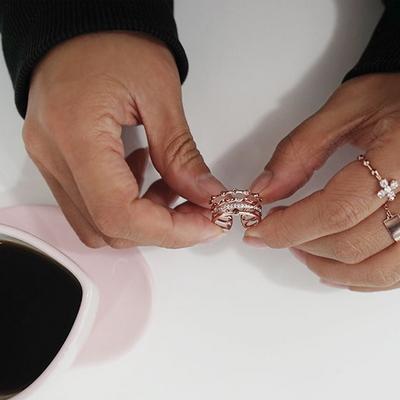 14k 핑크골드 위드 네줄 라인 반지