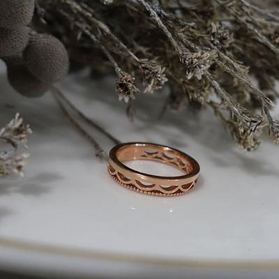 14k 핑크골드 레이스 심플 반지