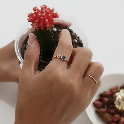 14k 핑크골드 사각 런던블루토파즈 반지