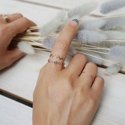 14k 핑크골드 다섯 블루러프다이아 꽈배기 반지