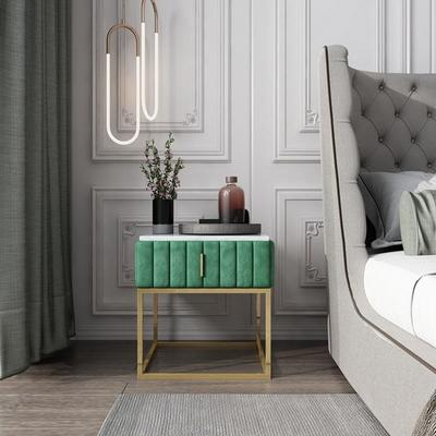 아파트32 홈 골드 철제 마블 드레스 침대 협탁_서랍형 사이드테이블