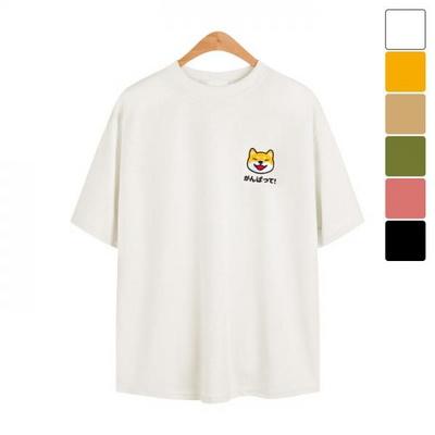 오버핏 시바견 반팔 티셔츠 TSB790