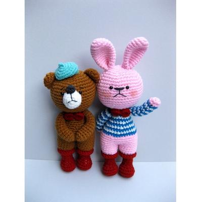 손뜨개 DIY-빨간장화친구들-토끼곰