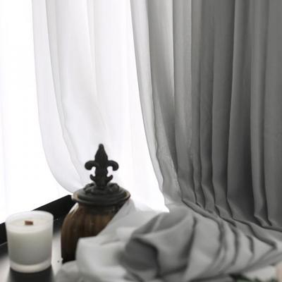 호텔식 주름형 화이트+그레이 투톤 쉬폰커튼