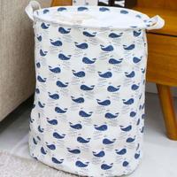 1+1 북유럽 원형 패브릭바스켓-푸른고래