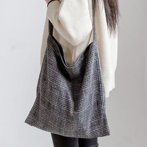W16-롱체크 캔버스백 - 여성가방 숄더백 데일리백