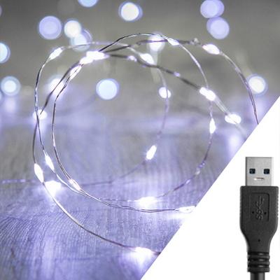 스트링라이트 10M USB 화이트_실버 와이어