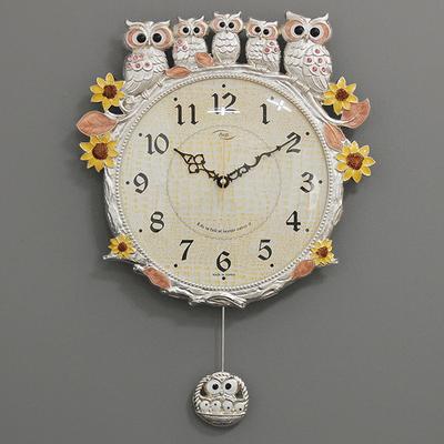 (kspz272)저소음 해바라기부엉이시계 은핑크