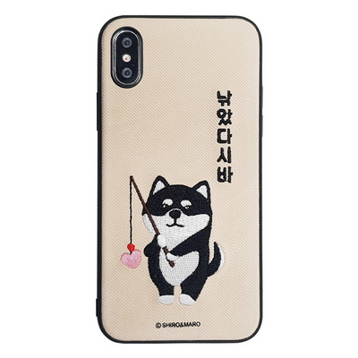 아이폰 시로앤마로 정품 자수 케이스 - 낚시 시바