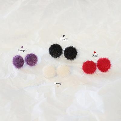 퍼리 미니 버튼 귀걸이 (4colors)