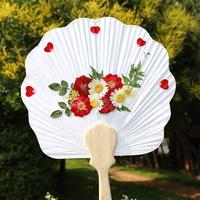 압화부채 만들기 - 빨간장미(조가비 연엽선)