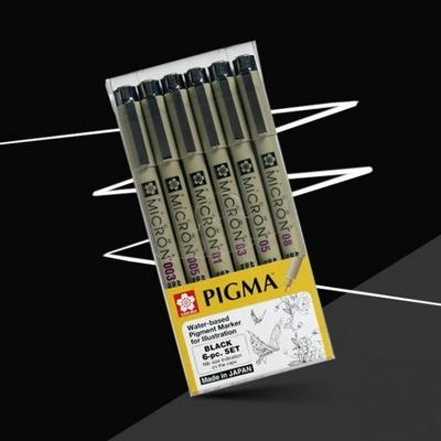 사쿠라 피그마펜 마이크론 드로잉펜 블랙세트 6본세트