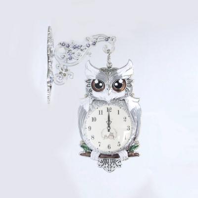 초롱큐빅 부엉이 양면시계 실버