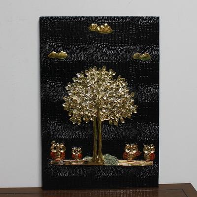 돈나무 부엉이 블랙골드 부조판화 벽걸이 인테리어 거실 그림액자