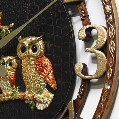 대형 금도금 부엉이 브라운 가죽 고급 벽걸이 벽시계