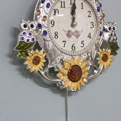 은도금 해바라기 부엉이시계-추 무소음 벽시계 엔틱 벽걸이