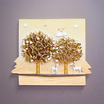 돈나무 말풍경4P도금 골드 부조 판화 벽걸이 그림액자