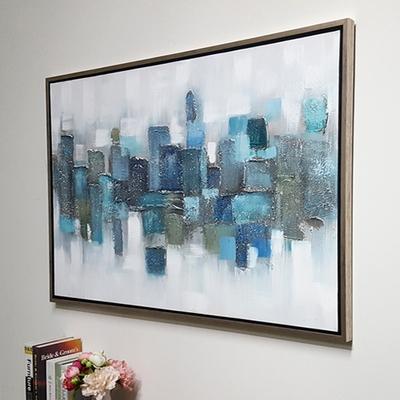 블루도형비구상 캔버스 유화 벽걸이 인테리어 거실 그림액자