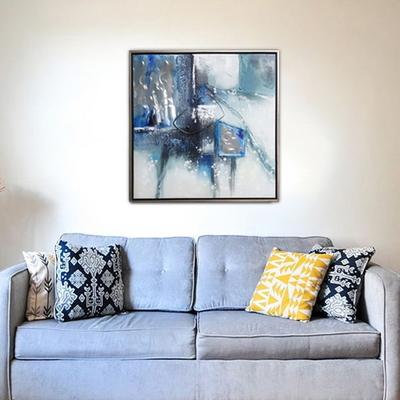 블루알루미늄비구상 캔버스 유화 벽걸이 인테리어 거실 그림액자