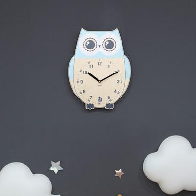 BEZIT - RICH OWL WALL CLOCK(BLUE 무소음 벽시계)