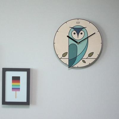 BEZIT -  부자되는 부엉이 무소음벽시계(모노블루)
