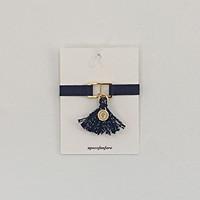 tassel initial banding bracelet - navy
