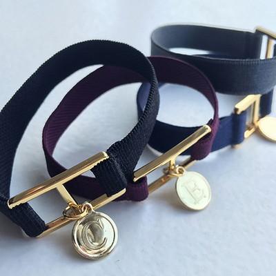10 color initial banding bracelet - black