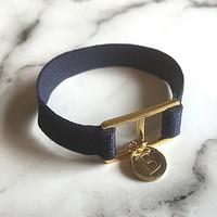 10 color initial banding bracelet - navy
